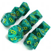 Malachite Green & Yellow Vortex D10 Ten Sided Dice Set